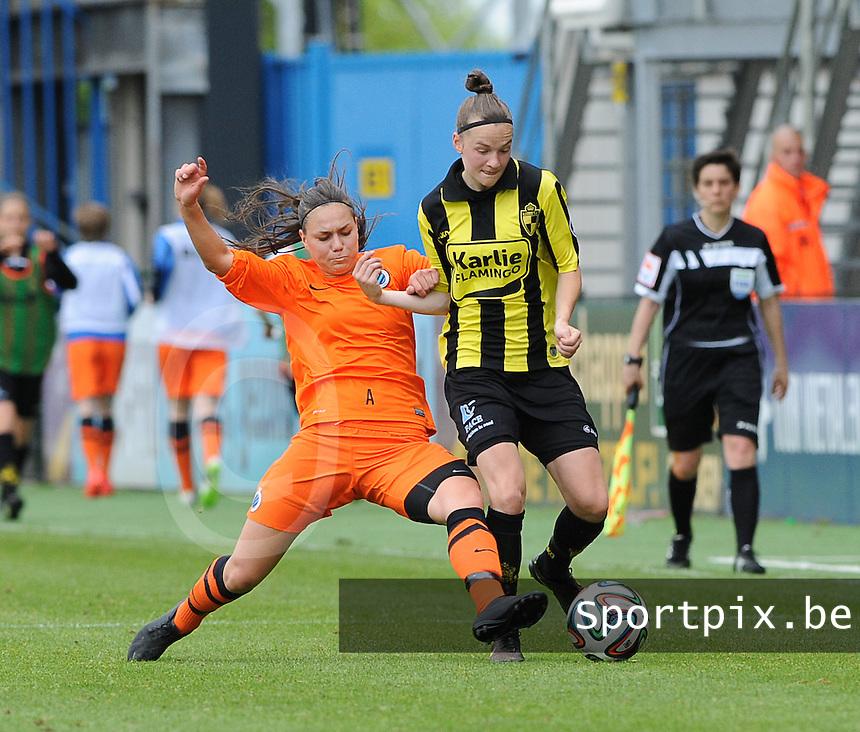 Bekerfinale vrouwen 2015 : Lierse-Club Brugge Vrouwen <br /> <br /> Tackle van Jassina Blom (L) op Elke Van Gorp (R)<br /> <br /> foto VDB / BART VANDENBROUCKE