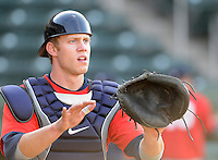 April 24, 2008: Catcher Lars Davis (27) of the Asheville Tourists, Class A affiliate of the Colorado Rockies, prior to a game against the Greenville Drive at Fluor Field at the West End in Greenville, S.C. Photo by:  Tom Priddy/Four Seam Images
