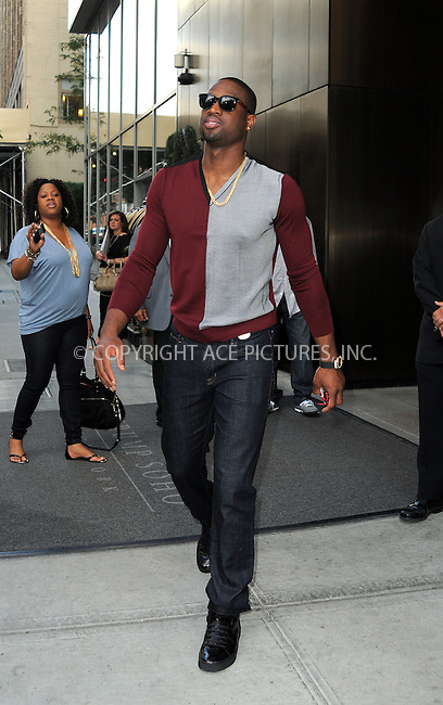 WWW.ACEPIXS.COM....September 5 2012, New York City....Basketball player Dwayne Wade leaves a downtown hotel on September 5 2012 in New York City....By Line: Curtis Means/ACE Pictures......ACE Pictures, Inc...tel: 646 769 0430..Email: info@acepixs.com..www.acepixs.com