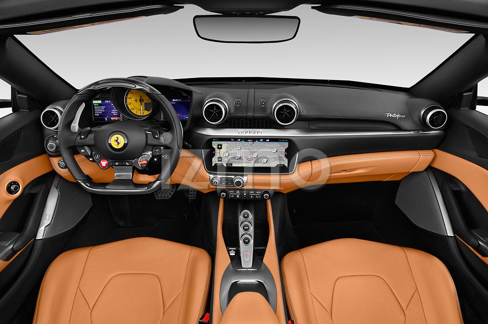 Stock photo of straight dashboard view of a 2018 Ferrari Portofino base 2 Door Convertible