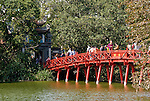 Red Bridge To Ngoc Son Temple - Red wooden bridge to the Ngoc Son Temple, on an island in Hoan Kiem Lake, Hanoi, Vietnam