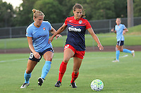 Piscataway, NJ - Saturday July 23, 2016: Kristin Grubka, Katie Stengel during a regular season National Women's Soccer League (NWSL) match between Sky Blue FC and the Washington Spirit at Yurcak Field.