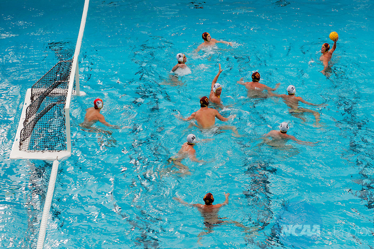 02 DEC 2007:  Anthony Artukovich (8) of USC takes a shot on goal against goalie Mark Sheredy (1) of the University of California-Berkeley during the Division I Men's Water Polo Championship held at the Avery Aquatic Center on the Stanford University campus in Palo Alto, CA.  Cal defeated USC 8-6 for the national title.  Jamie Schwaberow/NCAA Photos