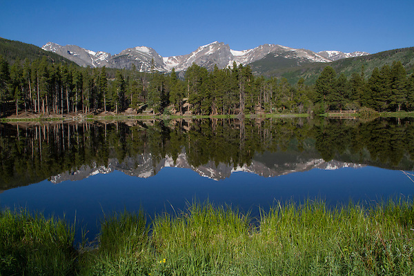 Morning at Sprague Lake with the Continental Divide behind, Rocky Mountain National Park, Colorado.<br /> Outside Imagery offers Rocky Mountain National Park photo tours and hikes.  Year-round sightseeing.