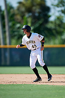 GCL Pirates center fielder Jack Herman (49) leads off second base during a game against the GCL Yankees West on August 2, 2018 at Pirate City Complex in Bradenton, Florida.  GCL Pirates defeated GCL Yankees West 6-2.  (Mike Janes/Four Seam Images)