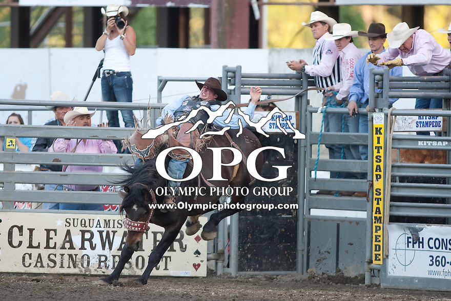27 Aug 2011:  George Gillespie IV riding the horse Enemy Rocket scored a 86 in the Bareback Riding competition at the Kitsap County Fair and Stampede Rodeo in Bremerton, Washington.