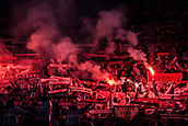7th December 2017, Rajko Mitic Stadium, Belgrade, Serbia, UEFA Europa League football, Red Star Belgrade versus FC Cologne; Fans of FC Koeln light flares during the match