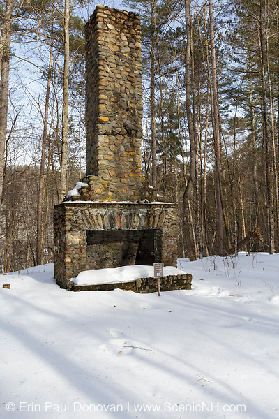 Remnants of a fireplace from one of the buildings at Camp Charles M. Smith in Waterbury, Vermont. Camp Smith was a Civilian Conservation Corps (CCC) camp built on a plateau above the Little River basin. This camp was a self-sufficient village, and the CCC men housed at this camp constructed the Waterbury Dam.