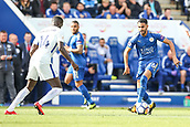 9th September 2017, King Power Stadium, Leicester, England; EPL Premier League Football, Leicester City versus Chelsea; Riyad Mahrez of Leicester City brings the ball forward keep close control