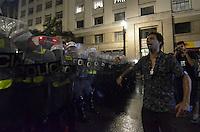 SÃO PAULO, SP - 22.02.2014 - MANIFESTAÇÃO CONTRA COPA- Professor protesta durante Segunda manifestação Contra a Copa realizada no centro de São Paulo na tarde deste sabado (22) - FOTO: (Levi Bianco / Brazil Photo Press)