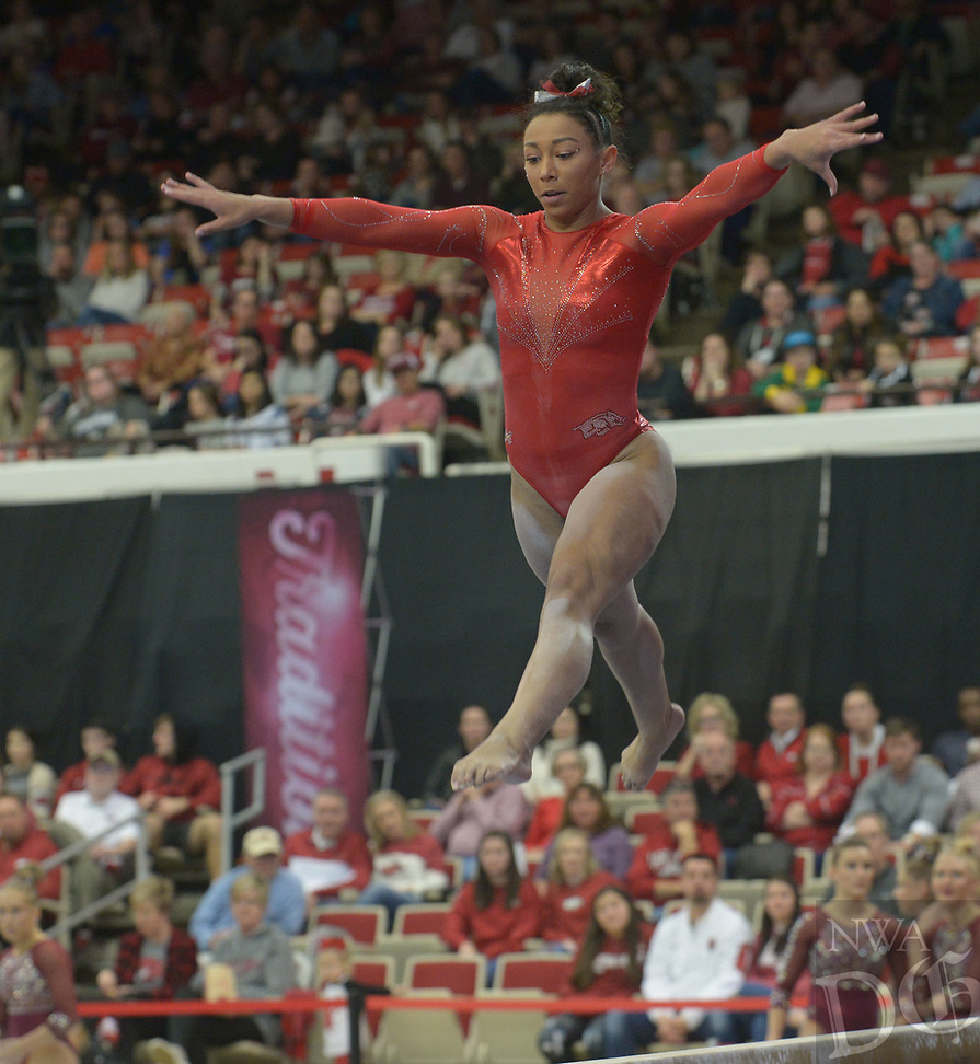 NWA Democrat-Gazette/ANDY SHUPE<br /> Arkansas' Michaela Burton competes in the beam Saturday, Jan. 5, 2019, during the Razorbacks' meet with No. 2 Oklahoma in Barnhill Arena in Fayetteville. Visit nwadg.com/photos to see more photographs from the meet.