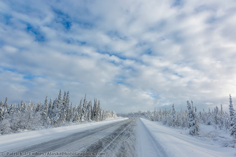 Icy conditions on the James Dalton Highway in Arctic, Alaska.