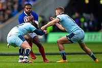 8th March 2020; Murrayfield Stadium, Edinburgh, Scotland; International Six Nations Rugby, Scotland versus France; Virimi Vakatawa of France is tackled by Sam Johnson of Scotland