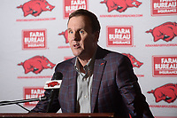 NWA Democrat-Gazette/ANDY SHUPE<br /> Arkansas football coach Chad Morris speaks Wednesday, Feb. 6, 2019, during a press conference to announce the Razorbacks' football signees in the Fred W. Smith Football Center on the university campus in Fayetteville.