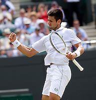 Novak Djokovic (SRB) (3) against Yen-Hsun Lu (TPA) in the Quarter Finals of the gentlemen's singles. Novak Djokovic beat Yen-Hsun Lu 6-3 6-2 6-2   ..Tennis - Wimbledon Lawn Tennis Championships - Day 9 Wed 30 Jun 2010 -  All England Lawn Tennis and Croquet Club - Wimbledon - London - England..© FREY - AMN IMAGES  Level 1, Barry House, 20-22 Worple Road, London, SW19 4DH.TEL - +44 (0) 20 8947 0100.Email - mfrey@advantagemedianet.com.www.advantagemedianet.com