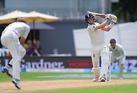 England captain Joe Root hits a delivery into Neil Wagner during day four of the international cricket 2nd test match between NZ Black Caps and England at Seddon Park in Hamilton, New Zealand on Friday, 22 November 2019. Photo: Dave Lintott / lintottphoto.co.nz