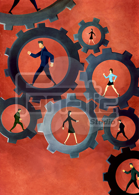 Illustrative image of business people walking in gears representing business mechanism and teamwork