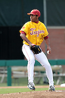 Stephen Tarpley (16) of the USC Trojans pitches against the Jacksonville Dolphins at Dedeaux Field on February 19, 2012 in Los Angeles,California. USC defeated Jacksonville 4-3.(Larry Goren/Four Seam Images)