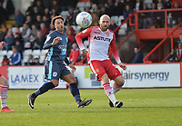 Nicky Maynard of Bury shoots wide during Stevenage vs Bury, Sky Bet EFL League 2 Football at the Lamex Stadium on 9th March 2019