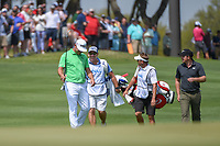 Gary Woodland  (USA) waves his wedge to the gallery after slam dunking his chip shot for eagle on 1 during day 1 of the WGC Dell Match Play, at the Austin Country Club, Austin, Texas, USA. 3/27/2019.<br /> Picture: Golffile | Ken Murray<br /> <br /> <br /> All photo usage must carry mandatory copyright credit (© Golffile | Ken Murray)