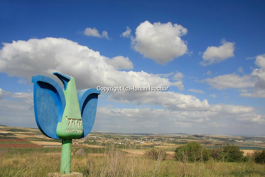 """Israel, KKl's """"bird"""" overlooking Harod Valley"""
