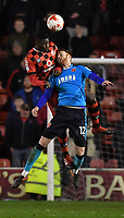 Fleetwood Town's Cian Bolger and Walsall's Amadou Bakayoko jump for the ball<br /> <br /> Photographer Dave Howarth/CameraSport<br /> <br /> The EFL Sky Bet League One - Walsall v Fleetwood Town - Tuesday 14th March 2017 - Banks's Stadium - Walsall<br /> <br /> World Copyright &copy; 2017 CameraSport. All rights reserved. 43 Linden Ave. Countesthorpe. Leicester. England. LE8 5PG - Tel: +44 (0) 116 277 4147 - admin@camerasport.com - www.camerasport.com