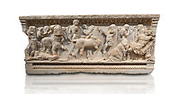 Roman relief sculpted sarcophagus of Achilles from Attica. This side shows scenes from the life of Achilles and bears characteristics of the Late Antonines Period of the Roman Imperial Period between 170-190 AD. Adana Archaeology Museum, Turkey. Against a white background