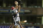 17 February 2012; Cory Hill beats Michael Paterson to the lineout ball.,  Celtic League, Cardiff Blues v Ulster, Cardiff Arms Park, Cardiff, Wales..Picture credit: Steve Pope / SPORTINGWALES