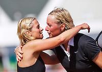 August 24, 2014, Netherlands, Amstelveen, De Kegel, National Veterans Championships, Ingeborg Vonk (NED) congratulates winner Marouschka van Dijk (NED) (R)<br /> Photo: Tennisimages/Henk Koster