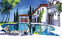 Couple relaxing by swimming pool of luxury villa ExclusiveImage