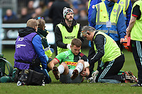 Charlie Mulchrone of Harlequins is treated for an injury during a break in play. Gallagher Premiership match, between Bath Rugby and Harlequins on March 2, 2019 at the Recreation Ground in Bath, England. Photo by: Patrick Khachfe / Onside Images