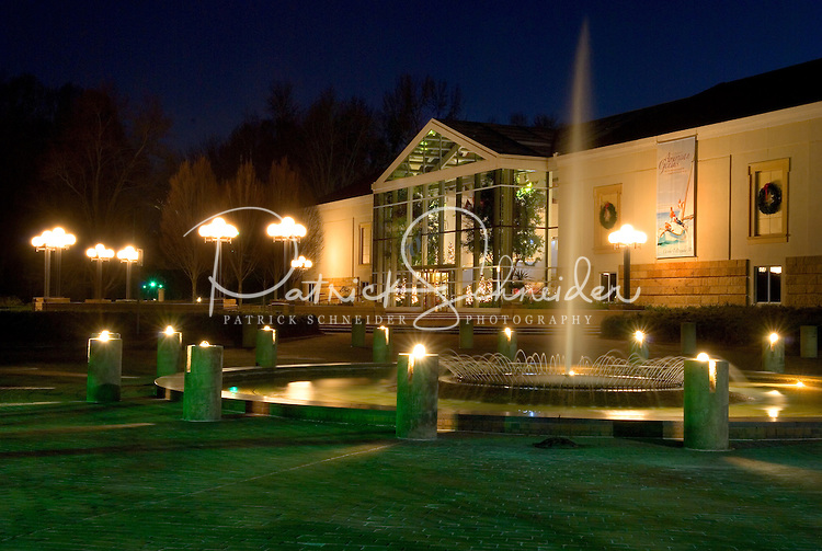 Exterior photo of the Mint Museum of Art at night in Charlotte, NC.