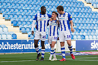 Frank Nouble and Tom Eastman celebrate with goalscorer Sammie Szmodics of Colchester United during Colchester United vs Crawley Town, Sky Bet EFL League 2 Football at the JobServe Community Stadium on 13th October 2018