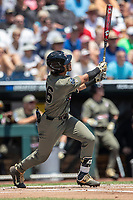 Vanderbilt Commodores third baseman Austin Martin (16)  hits the first pitch of the game for a home run against the Louisville Cardinals in the NCAA College World Series on June 16, 2019 at TD Ameritrade Park in Omaha, Nebraska. Vanderbilt defeated Louisville 3-1. (Andrew Woolley/Four Seam Images)