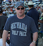 Nevada football coach Brian Pollian during Wolf Pack Night at the Reno Rodeo on Wednesday, June 22, 2016.