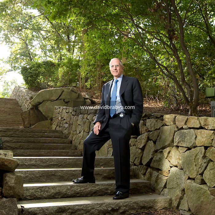 Michael J. Critelli, Executive Chairman of Pitney Bowes Inc., poses for the photographe at the company's headquarters in Stamford, CT, United States, 7 October 2008. Clipped to his belt is a podometer. Critelli make sure he takes at least 10,000 steps everyday.