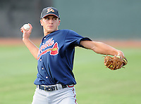 Infielder Nick Ahmed (22) of the Danville Braves, Appalachian League affiliate of the Atlanta Braves, prior to a game against the Johnson City Cardinals on August 19, 2011, at Howard Johnson Field in Johnson City, Tennessee. Ahmed was Atlanta's second-round pick in the 2011 First-Year Player Draft. Danville defeated Johnson City, 5-4, in 16 innings. (Tom Priddy/Four Seam Images)