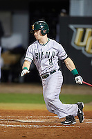 Siena Saints right fielder Dan Lowndes (8) at bat during a game against the UCF Knights on February 17, 2017 at UCF Baseball Complex in Orlando, Florida.  UCF defeated Siena 17-6.  (Mike Janes/Four Seam Images)