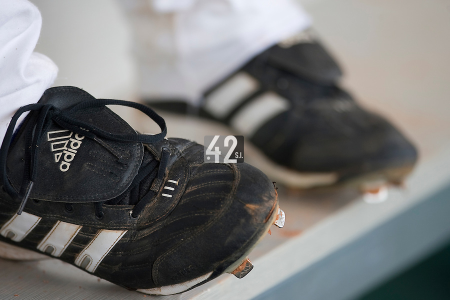 18 August 2007: Close up view of Adidas baseball cleats during the China 5-1 victory over France in the Good Luck Beijing International baseball tournament (olympic test event) at the Wukesong Baseball Field in Beijing, China.