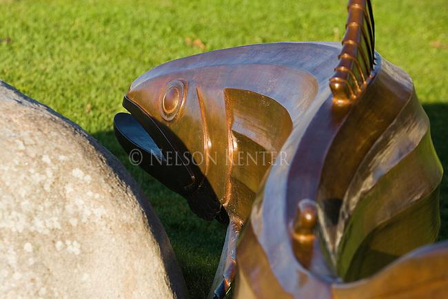 Bronze fish sculptures in Caras Park downtown Missoula, Montana