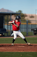 David Stirpe (5) of Hilton High School in Rochester, New York during the Baseball Factory All-America Pre-Season Tournament, powered by Under Armour, on January 14, 2018 at Sloan Park Complex in Mesa, Arizona.  (Freek Bouw/Four Seam Images)