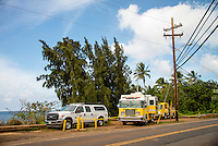 Haleiwa, North Shore, Oahu Hawaii - (Saturday, Nov. 16, 2013) -- The Honolulu Fire Department -Comand Centre truck at Alligators during the search for missing surfer Kirk Passmore  who was lost surfing at Alligators in 20' surf last Wednesday. Photo: joliphotos.com