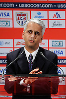 United States Soccer Federation President Sunil Gulati addresses the media during a press conference introducing the new US Men's National Team Head Coach Jurgen Klinsmann at NIKETOWN in New York, NY, on August 01, 2011.