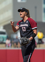 NWA Democrat-Gazette/BEN GOFF @NWABENGOFF<br /> Dixie Raley, South Carolina pitcher, racts to a ball call in the 6th inning vs Arkansas Sunday, March 17, 2019, at Bogle Park in Fayetteville.