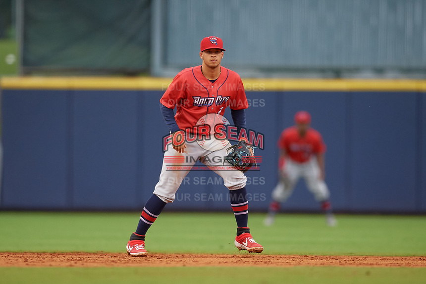Jacksonville Jumbo Shrimp shortstop Joe Dunand (3) during a Southern League game against the Mississippi Braves on May 4, 2019 at Trustmark Park in Pearl, Mississippi.  Mississippi defeated Jacksonville 2-0.  (Mike Janes/Four Seam Images)