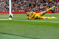 Thomas Heaton of Aston Villa checks to see where the ball is going during the Premier League match between Arsenal and Aston Villa at the Emirates Stadium, London, England on 22 September 2019. Photo by Carlton Myrie / PRiME Media Images.