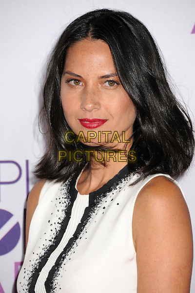 Olivia Munn.People's Choice Awards 2013 - Arrivals held at Nokia Theatre L.A. Live, Los Angeles, California, USA..January 9th, 2013.headshot portrait red lipstick black white top sleeveless .CAP/ADM/BP.©Byron Purvis/AdMedia/Capital Pictures.