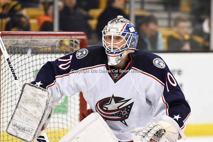 Monday, February 22, 2016: Columbus Blue Jackets goalie Joonas Korpisalo (70) gets warmed up before the National Hockey League game between the Columbus Blue Jackets and the Boston Bruins, held at TD Garden, in Boston, Massachusetts. The Blue Jackets defeat the Bruins 6-4. Eric Canha/CSM<br /> <br /> *** Headline correction *** This corrects an earlier version that headlined the game as Blues vs Bruins FEB 22.
