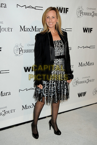 MARLEE MATLIN .3rd Annual Women In Film Pre-Oscar Party held at a Private Residence in Beverly Hills, California, USA, .4th March 2010..full length black jacket white print patterned pattern tights shoes  dress .CAP/ADM/BP.©Byron Purvis/AdMedia/Capital Pictures.