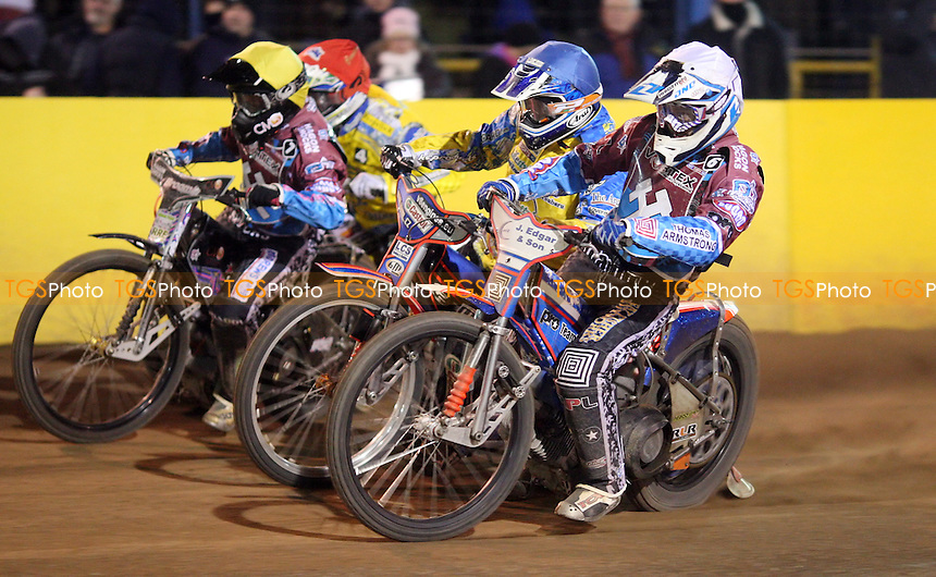 Heat 14: Richard Lawson (white), Lukas Dryml (blue), Robert Mear (yellow) and Cameron Woodward (red) - Eastbourne Eagles vs Vortex Lakeside Hammers, Elite League Speedway at Arlington Stadium, Eastbourne - 29/03/2013 - MANDATORY CREDIT: Rob Newell/TGSPHOTO - Self billing applies where appropriate - 0845 094 6026 - contact@tgsphoto.co.uk - NO UNPAID USE.